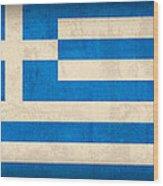 Greece Flag Vintage Distressed Finish Wood Print