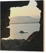Greece-nafplio Bourtzi From Castle Wood Print