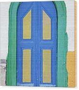 Greek Door Wood Print