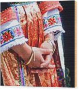 Greek Easter Holiday - Woman In Traditional Dress Wood Print