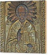 Greek Icon Of Saint Nicolas  Wood Print