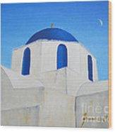 Greek Island Church  Wood Print
