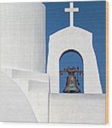 Greek Island Church Wood Print