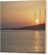 Greek Island Sunset Wood Print