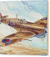 Greek Squadron Spitfire Wood Print