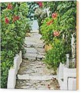 Greek Steps Wood Print