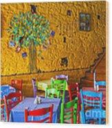 Greek Taverna Wood Print by Eleni Mac Synodinos
