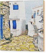 Greek Village 8 Wood Print