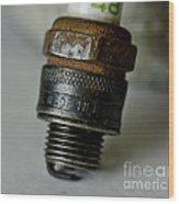 Green 48 Spark Plug Wood Print