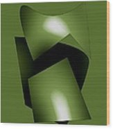 Green Abstract Geometry Wood Print by Mario Perez