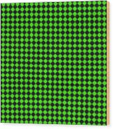 Green And Black Checkered Pattern Cloth Background Wood Print