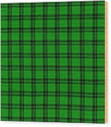 Green And Black  Plaid Cloth Background Wood Print