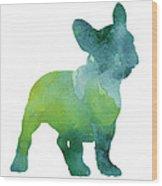 Green And Blue Abstract French Bulldog Watercolor Painting Wood Print