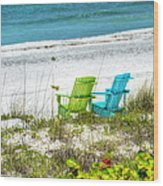 Green And Blue Chairs Wood Print