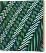 Green And Blue Folds Wood Print