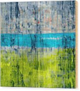 Green and blue Wood Print