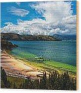 Green And Blue Lake Wood Print