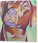 Green And Brown Dog Wood Print