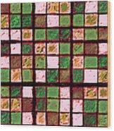 Green And Brown Sudoku Wood Print