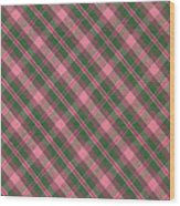Green And Pink Diagonal Plaid Pattern Textile Background Wood Print
