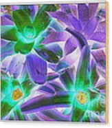 Green And Purple Cactus Wood Print