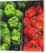 Green And Red Pepper Wood Print