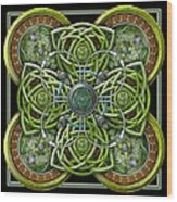 Green And Silver Celtic Cross Wood Print