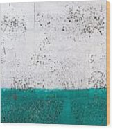 Green And White Wall Texture Wood Print