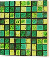 Green And Yellow Sudoku Wood Print