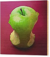 Green Apple Core 2 Wood Print