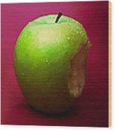 Green Apple Nibbled 1 Wood Print