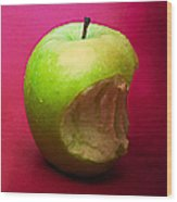 Green Apple Nibbled 3 Wood Print