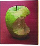Green Apple Nibbled 5 Wood Print