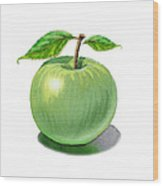 Green Apple Still Life Wood Print