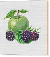 Green Apple With Blackberries Wood Print