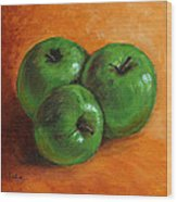Green Apples Wood Print