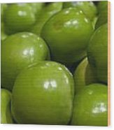 Green Apples On Display At Farmers Market Wood Print