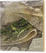 Green Asparagus On Burlab Wood Print
