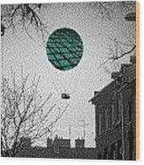 Green Balloon Wood Print