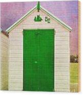 Green Beach Hut Wood Print