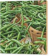 Green Beans In Baskets At Farmers Market Wood Print
