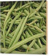 Green Beans Wood Print