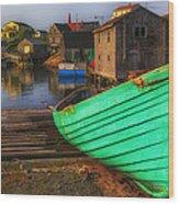 Green Boat Peggys Cove Wood Print