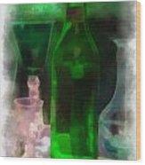 Green Bottle Photo Art Wood Print