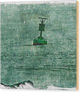 Green Buoy - Barnegat Inlet - New Jersey - Usa Wood Print