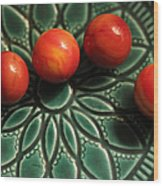 Green Bowl Red Marbles Wood Print