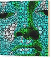 Green Buddha - Stone Rock'd Art By Sharon Cummings Wood Print