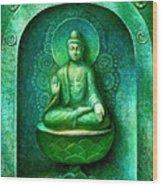 Green Buddha Wood Print