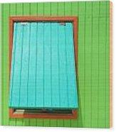 Green Cabin Wood Print