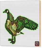 Green Canada Goose Pop Art - 7585 - Wb Wood Print